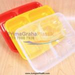 (FIM) Kotak Oven 4 Sekat Microwaveable & Freezer – Merah, Putih, Kuning, Hitam (Stock : Ready)